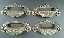 "4 Victorian Antique Style Apothecary Bin Pull Handles w.label holder 4 3/4"" #A7"