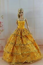 Yellow Fashion Princess Dress Wedding Clothes/Gown For Barbie Doll S297