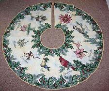 """Botanical Christmas ~ Cardinal/Chickadee/Holly 44"""" Round Tapestry Tree Skirt"""