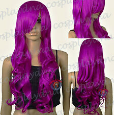 33 inch Hi_Temp Series Magenta Purple Curly Wavy Long Cosplay DNA Wigs 967PTH