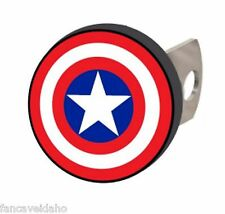 "NEW! Captain America Logo 1 1/4"" & 2"" Solid Metal Hitch Plug Receiver Cover"