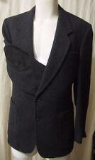 Mens Hunting Horn Blazer Jacket Suede Elbow Patches Gray Wool Tweed Size 40 SM