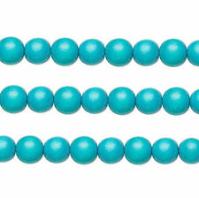 Wood Round Beads Turquoise 8mm 16 Inch Strand