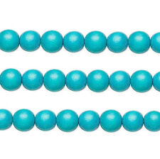 Wood Round Beads Turquoise 12mm 16 Inch Strand