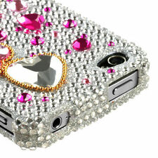 Apple iPHONE 4 4G 4S - CRYSTAL DIAMOND BLING HARD CASE COVER PINK SILVER HEART