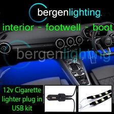 2x 300mm Azul Usb 12v Encendedor Interior Kit 12v Smd5050 Drl Luz De Ambiente Tiras