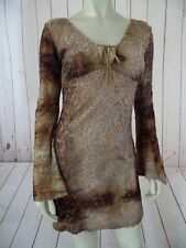 GLAM Top or Mini Dress S Poly Stretch Blend Pullover See Thru Floral HIPPIE HOT!