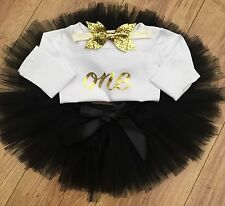 Baby Girls First 1st Birthday Tutu Skirt Outfit Set  Black & Gold Bow Cake Smash