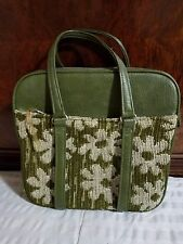 Vintage 1960s Samsonite Fashionaire  Green Floral Tote with Purse and Key