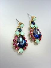 GLITZY Urban Anthropologie Multicolor Crystals Gold Statement Dangle Earrings