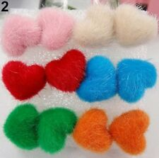 6 PAIRS FUR LOVE HEART STUD EARRINGS. PINK, GREEN, WHITE, BLACK, BLUE, RED 18MM
