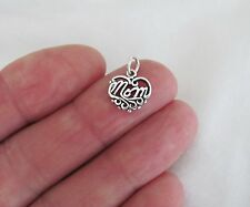 Sterling Silver mom heart small charm.