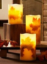 "3pc Wax LED Flameless Fall Leaves Pillar Candle Set 4""-5""-6"" 4hr timer NIB"