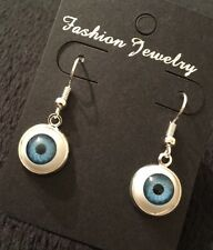 Evil Eye Earrings Eyeball Studs Lucky Rockabilly Horror Blue Steampunk Eyes UK