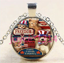 Cute Dog and Cat Cabochon Tibetan silver Glass Chain Pendant Necklace #6160