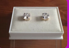 9ct Gold Plate Cubic Zirconia Cushion Cut Solatair Stud Earrings BRAND NEW
