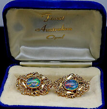 EXQUISITE GENUINE AUSTRALIAN BLACK OPAL SOLID 18K YELLOW GOLD UNISEX CUFFLINKS