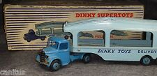DINKY TOYS №982 PULLMORE CAR TRANSPORTER 1954 DARK BLUE CAB LIGHT BLUE BODY