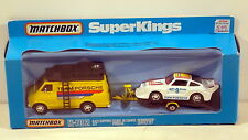 DTE MATCHBOX SUPERKINGS SK-102 TEAM PORSCHE RACE SET W/ ALL WHITE CAR NIOB