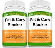 2x Fat and Carb Blocker White Kidney Bean Extract Chitosan Phaseolus Vulgaris