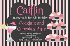 10 PERSONALISED COCKTAILS AND CUPCAKES PARTY INVITATIONS - GIRLS BIRTHDAY