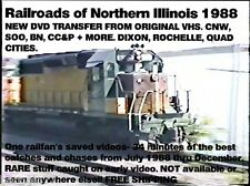 Northern Illinois Train DVD 1988- CC&P-C&NW-SOO LINE-BN-Frisco Steam 34min