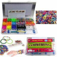 5000PCS RUBBER BANDS RAINBOW COLOURFUL LOOM SET CHILDREN BRACELET MAKING KIT DIY
