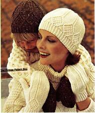 ARAN HAT & MITTS child & adult size - COPY vintage ladies knitting pattern