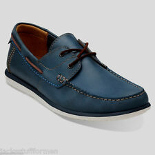 Clarks Kelan Step Mens Sz US 11 M Navy Blue Leather Boat Loafers Slip Ons Shoes