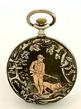 Antique Rose Gold Inlay Hunting Scene on Niello Silver Swiss Pocket Watch CA1900