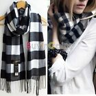 Winter Warm Women Men Wool Blend Geometric Scarf Wrap Scarf Shawl Stole