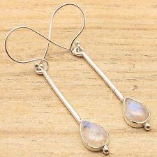 925 Silver Plated Blue Fire RAINBOW MOONSTONE Fashion Earrings WOMEN'S JEWELRY