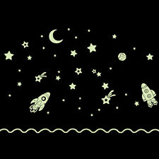 Wall decal stickers kids boys space rocket glow in dark reusable playroom DC25
