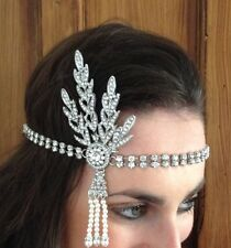 Great Gatsby 1920s Headpiece Headband Art Deco style silver crystal Flapper