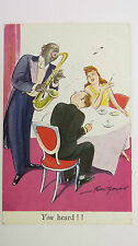 1930s Bert Thomas Vintage Postcard Jazz Jazzin Blues Music Saxophone Player