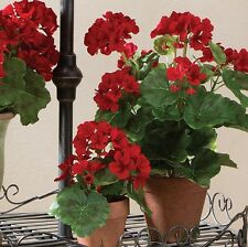 Geranium in clay pot red flower 17 inch NEW RAZ Imports Floral rzsp 3702226