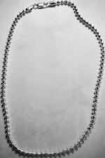 """Sterling Silver Unique Diamond Shaped Beaded Link Chain 17"""" 24 Grams"""