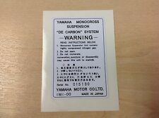 YAMAHA DT125 DT175 DT250 DT400 rear shock warning decal sticker