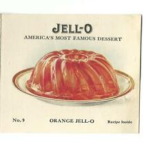 Old Jell-O Premium Package Recipe Insert No 9 Orange Jello Recipes Roman Sponge