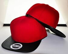 2 HAT COMBO DEAL! RED SNAPBACK WITH BLACK LEATHER FLAT BILL HAT CAP ADJUSTABLE
