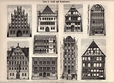 1897 Original Antique Lithograph 2 Plates Meyers HOUSES BUILDINGS GOTHIC STYLE