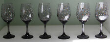 SIX BEAUTIFUL HAND PAINTED PURPLE HOLIDAY WHITE WINE GLASSES WITH BLING
