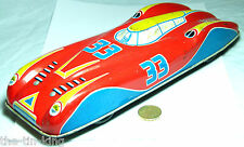 RARE VINTAGE TIN PLATE TOY PUSH ALONG CHAD VALLEY FERRARI RACE SPORTS CAR 1950S