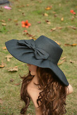 Black Linen Summer Womens Wide Brim Sun Hat Wedding Church Sea Beach