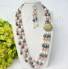 "20"" 3row white pink black purple Multicolor pearls necklace Earrings j8711"