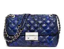 NWT Michael Kors Sloan Large Embossed Leather Chain Shoulder Bag  Electric Blue