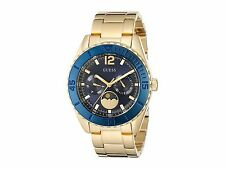 NWT GUESS BLUE DIAL GOLD TONE BLUE MOON PHASE CHRONOGRAPH WATCH U0565L4