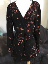 Free People Kimono Wrap Bye Bye Birdie 12 M Top Blouse Shirt Black Red Floral
