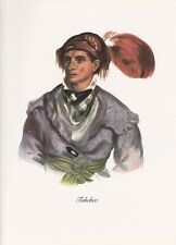 """1972 Vintage Full Color Art Plate """"CHIEF DUTCH"""" NATIVE AM. INDIAN Lithograph"""