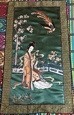 "Antique Chinese Panel Wall Hanging Hand Embroidery On Silk Art Textile 22"" X 39"""